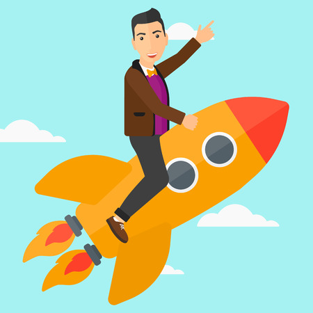 man pointing up: A man flying on the rocket with a forefinger pointing up on the background of blue sky vector flat design illustration. Square layout.
