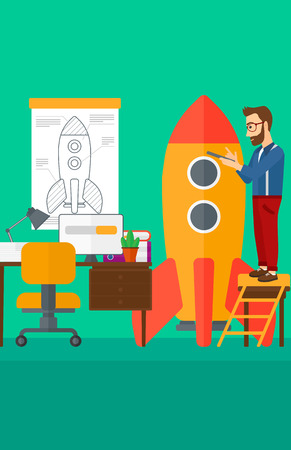 engeneering: A hipster man with the beard standing on ladder and engeneering a rocket on the background of workspace vector flat design illustration. Vertical layout.