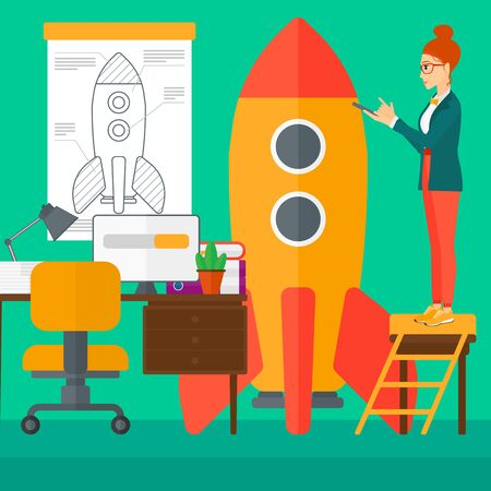 engeneering: A woman standing on ladder and engeneering a rocket on the background of workspace vector flat design illustration. Square layout.