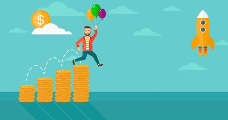 man flying: A hipster man with balloons flying over golden coins graphs and a rocket flying nearby on the background of blue sky vector flat design illustration. Horizontal layout. Illustration