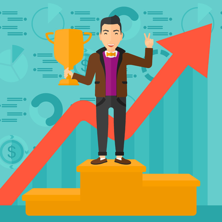 A man standing on the winning podium with a trophy in hand on a blue background with business graphs and rising up arrow vector flat design illustration. Square layout.