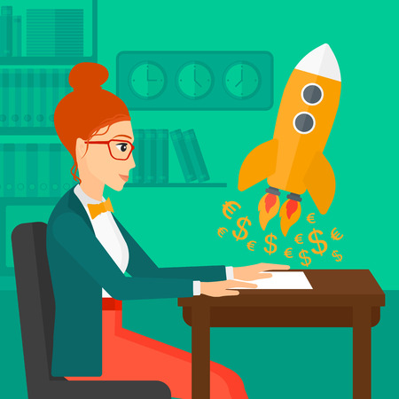 taking off: A woman sitting at the table and looking at a rocket with money taking off the paper on the background of office vector flat design illustration. Square layout.