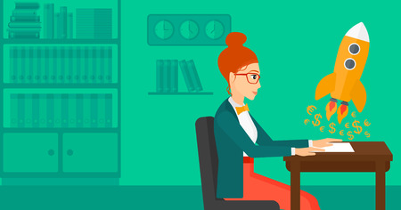 A woman sitting at the table and looking at a rocket with money taking off the paper on the background of office vector flat design illustration. Horizontal layout.