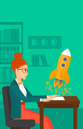 taking off: A woman sitting at the table and looking at a rocket with money taking off the paper on the background of office vector flat design illustration. Vertical layout.