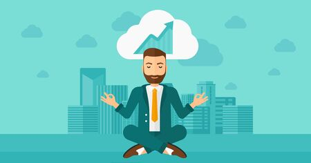 man meditating: Peaceful hipster man with the beard meditating in lotus pose and thinking about the growth graph  on the background of modern city vector flat design illustration. Horizontal layout. Illustration
