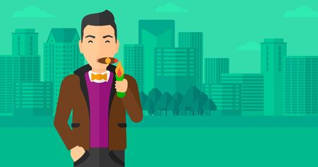 cigar smoking man: A man smoking a cigar on the background of modern city vector flat design illustration. Horizontal layout.