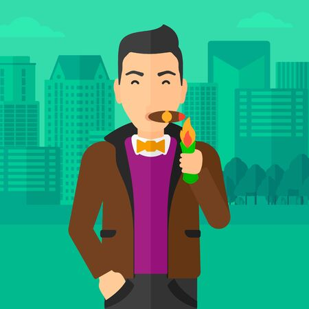 cigar smoking man: A man smoking a cigar on the background of modern city vector flat design illustration. Square layout.