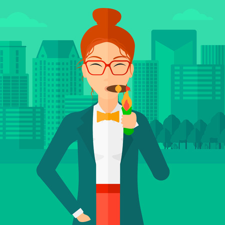 cigar smoking woman: A woman smoking a cigar on the background of modern city vector flat design illustration. Square layout.
