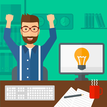A hipster man with raised hands sitting at the table on the background of office vector flat design illustration. Square layout. Иллюстрация
