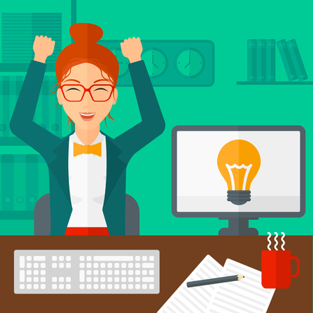 A woman with raised hands sitting at the table on the background of office vector flat design illustration. Square layout.