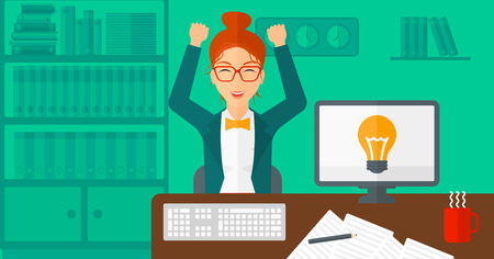 A woman with raised hands sitting at the table on the background of office vector flat design illustration. Horizontal layout.