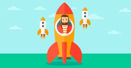 taking off: A hipster man with the beard taking off in a rocket on the background of blue sky vector flat design illustration. Horizontal layout.