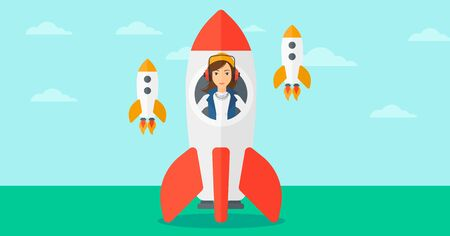 A woman taking off in a rocket on the background of blue sky vector flat design illustration. Horizontal layout.