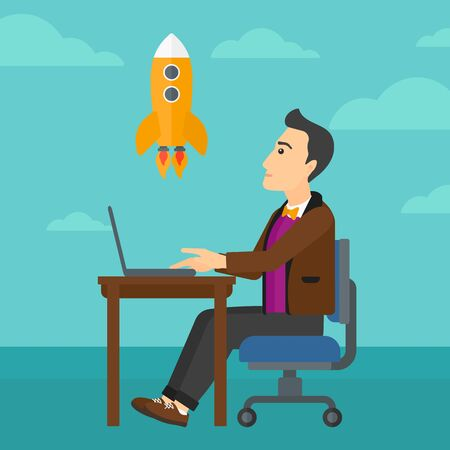 man flying: A man sitting at the table in front of laptop and looking at a flying rocket on the background of blue sky vector flat design illustration. Square layout.