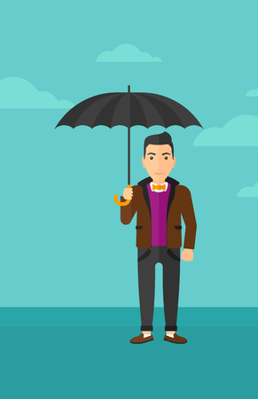 sheltering: A man standing with an umbrella on the background of blue sky vector flat design illustration. Vertical layout. Illustration