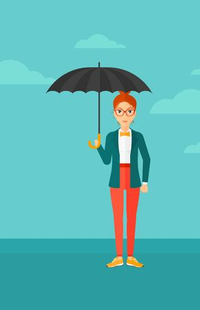 sheltering: A woman standing with an umbrella on the background of blue sky vector flat design illustration. Vertical layout.