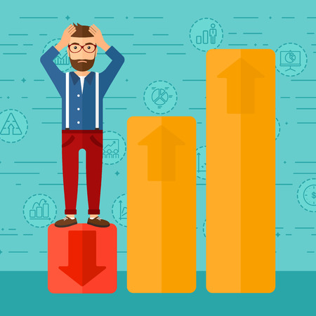 market bottom: Upset hipster man with the beard clutching his head and standing in bottom of uprising chart on a blue background with business icons vector flat design illustration. Square layout.