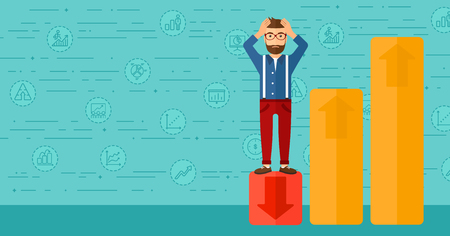 market bottom: Upset hipster man with the beard clutching his head and standing in bottom of uprising chart on a blue background with business icons vector flat design illustration. Horizontal layout.