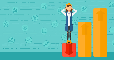 market bottom: Upset woman clutching her head and standing in bottom of uprising chart on a blue background with business icons vector flat design illustration. Horizontal layout. Illustration