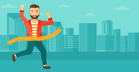 A hipster man with the beard running through finishing line on the background of modern city vector flat design illustration. Horizontal layout. Illustration