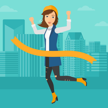 concurrence: A woman running through finishing line on the background of modern city vector flat design illustration. Square layout.