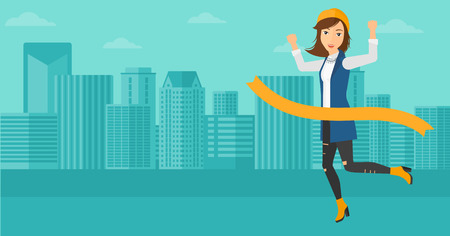 concurrence: A woman running through finishing line on the background of modern city vector flat design illustration. Horizontal layout.