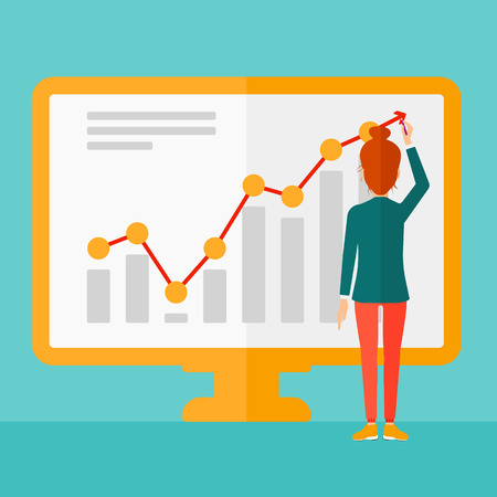 spokesperson: A business woman presenting report through infographic on the board on a blue background vector flat design illustration. Square layout.