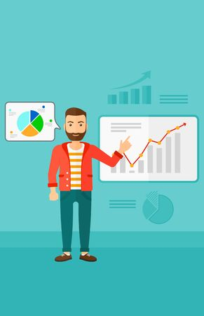 forefinger: A hipster man with the beard presenting report through infographic on a blue background with business charts vector flat design illustration. Vertical layout.