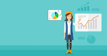 forefinger: A woman presenting report through infographic on a blue background with business charts vector flat design illustration. Horizontal layout.