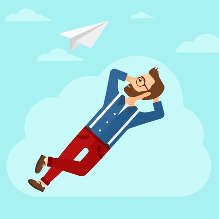 man looking at sky: A hipster man with the beard lying on a cloud and looking at flying paper plane on the background of blue sky vector flat design illustration. Square layout. Illustration