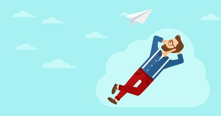 A hipster man with the beard lying on a cloud and looking at flying paper plane on the background of blue sky vector flat design illustration. Horizontal layout.