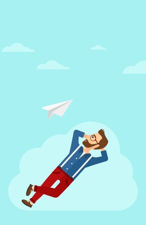 flying paper: A hipster man with the beard lying on a cloud and looking at flying paper plane on the background of blue sky vector flat design illustration. Vertical layout.
