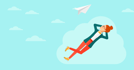 flying paper: A woman lying on a cloud and looking at flying paper plane on the background of blue sky vector flat design illustration. Horizontal layout. Illustration