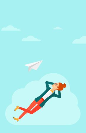 flying paper: A woman lying on a cloud and looking at flying paper plane on the background of blue sky vector flat design illustration. Vertical layout.