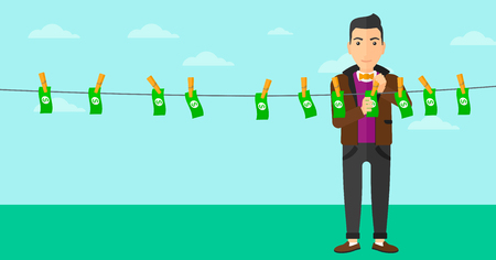 A businessman drying banknotes on clothesline on the background of blue sky vector flat design illustration. Horizontal layout.