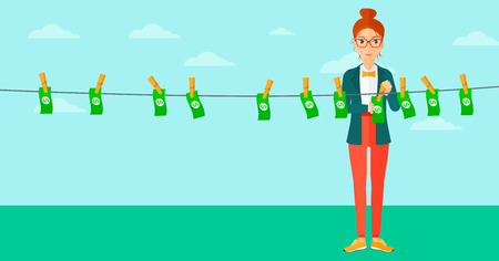 laundered: A business woman drying banknotes on clothesline on the background of blue sky vector flat design illustration. Horizontal layout.