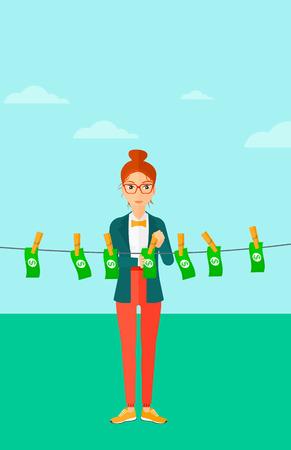 dinero falso: Una mujer de negocios secado billetes en el tendedero en el fondo de cielo azul ilustración vectorial diseño plano. disposición vertical. Vectores