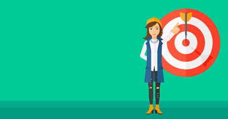 full length woman: A woman pointing at arrow in a target board on a green background vector flat design illustration. Horizontal layout.