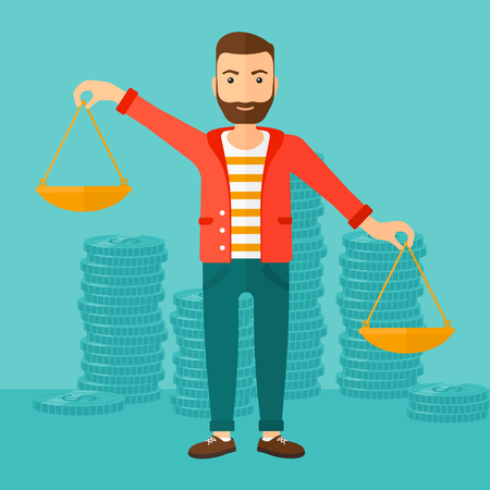 outweigh: A hipster man with the beard holding scales in hands on a blue background with stacks of coins vector flat design illustration. Square layout. Illustration