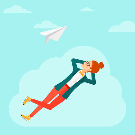 flying paper: A woman lying on a cloud and looking at flying paper plane on the background of blue sky vector flat design illustration. Square layout.