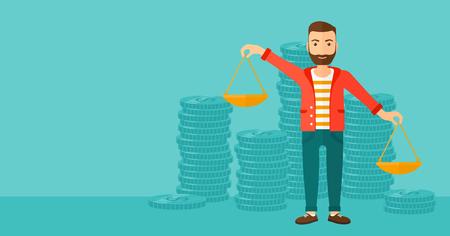 Een hipster man met de baard die schalen in handen op een blauwe achtergrond met stapels van munten vector platte ontwerp illustratie. Horizontale lay-out.