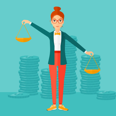 female business: A woman holding scales in hands on a blue background with stacks of coins vector flat design illustration. Square layout.