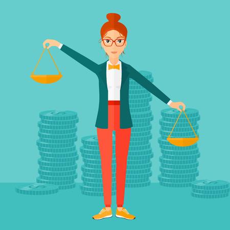 Een vrouw die schalen in handen op een blauwe achtergrond met stapels van munten vector platte ontwerp illustratie. Vierkante lay-out. Stock Illustratie