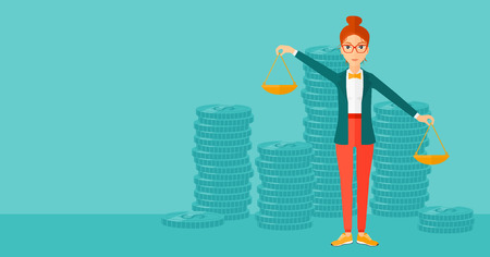 A woman holding scales in hands on a blue background with stacks of coins vector flat design illustration. Horizontal layout.