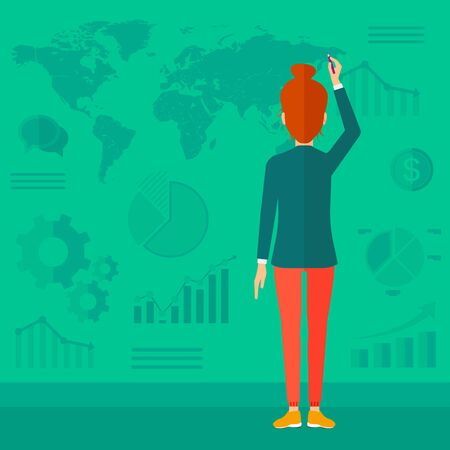 flat earth: A woman turned back painting something on a green wall with many charts and a map vector flat design illustration. Square layout.