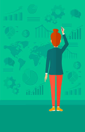 turned: A woman turned back painting something on a green wall with many charts and a map vector flat design illustration. Vertical layout.