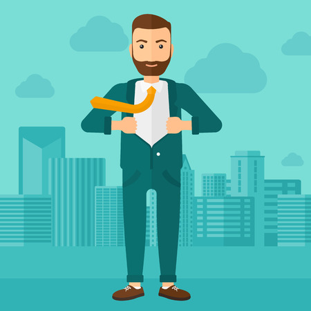 A hipster man with the beard taking off his jacket on the background of modern city vector flat design illustration. Square layout. 矢量图像