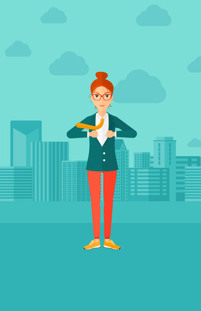 caucasians: A woman taking off her jacket on the background of modern city vector flat design illustration. Vertical layout.