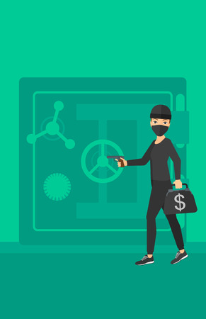 hand gun: A professional burglar in black mask with hand gun near the big safe door vector flat design illustration. Vertical layout.