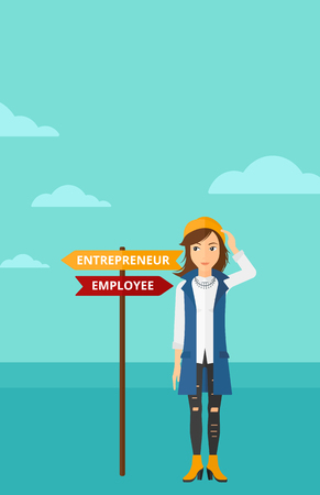 career choices: A confused woman with two career choices in front of her on the background of blue sky vector flat design illustration. Vertical layout. Illustration